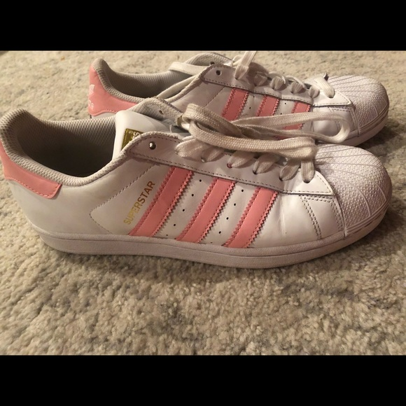 adidas superstar shoes pink and white